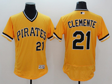 mens majestic pittsburgh pirates #21 roberto clemente gold Flex Base jersey