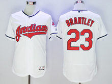 mens majestic cleveland indians #23 michael brantley white Flex Base jersey