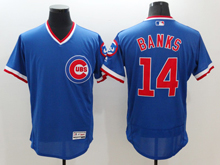 mens majestic chicago cubs #14 ernie banks blue pullover Flex Base jersey