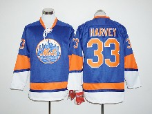 Mens Mlb New York Mets #33 Matt Harvey Blue Long Sleeve Jersey