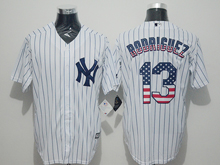 Mens Majestic New York Yankees #13 Alex Rodriguez White Stripe Usa Flag Jersey