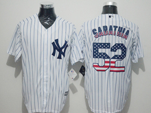 Mens Majestic New York Yankees #52 Cc Sabathia White Stripe Usa Flag Jersey