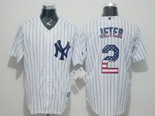 Mens Majestic New York Yankees #2 Derek Jeter White Stripe Usa Flag Jersey