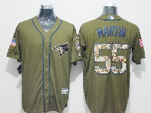 Mens Majestic Toronto Blue Jays #55 Russell Martin Green Fashion 2016 Memorial Day Jersey
