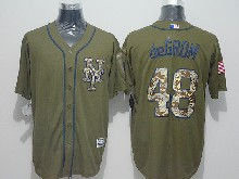 Mens Majestic New York Mets #48 Jacob Degrom Green Fashion 2016 Memorial Day Jersey