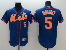mens majestic new york mets #5 david wright blue Flex Base jersey