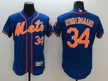mens majestic new york mets #34 noah syndergaard blue Flex Base jersey