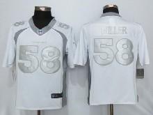 Mens Nfl New   Denver Broncos #58 Von Miller White Platinum Limited Jerseys