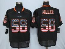 Mens Nfl New   Denver Broncos #58 Von Miller Black Usa Flag Fashion Elite Jerseys