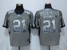 Mens Nfl New   Dallas Cowboys #21 Ezekiel Elliott Gray Drift Fashion Elite Jerseys