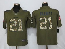 Mens Nfl New   Dallas Cowboys #21 Ezekiel Elliott Green Salute To Service Limited Jersey