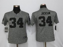 Women  Nfl   Oakland Raiders #34 Bo Jackson Gray (black Number) Limited Jersey