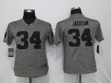 Women  Nfl   Oakland Raiders #34 Bo Jackson Gray (black Number) Limited Jersey