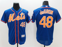 mens majestic new york mets #48 jacob degrom blue Flex Base jersey