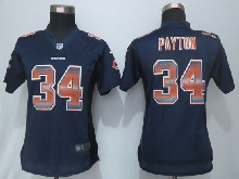 Women  Nfl Chicago Bears #34 Walter Payton Navy Blue Strobe Elite Jersey