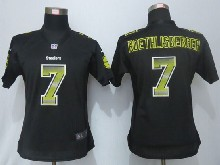 Women  Nfl Pittsburgh Steelers #7 Ben Roethlisberger Black Strobe Elite Jersey