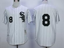 Mens Mlb Chicago White Sox #8 White (black Stripe) Throwbacks Jersey