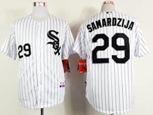 Mens mlb chicago white sox #29 samardzija white (black stripe black name) Jersey
