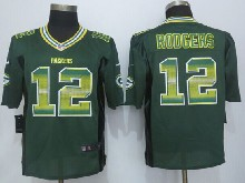 Mens Nfl Green Bay Packers #12 Aaron Rodgers Green Strobe Limited Jersey
