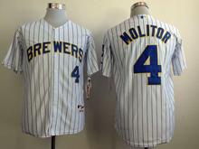 Mens mlb milwaukee brewers #4 molitor white (blue stripe) Jersey