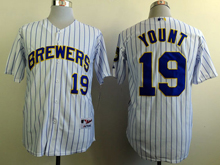 Mens mlb milwaukee brewers #19 yount white (blue stripe) Jersey