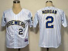 Mens mlb milwaukee brewers #2 morgan white&blue stripe Jersey