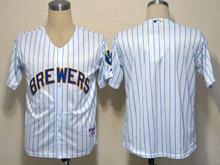 Mens mlb milwaukee brewers (blank) white&blue stripe Jersey
