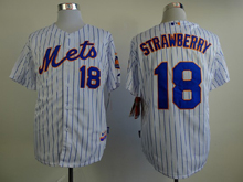 Mens mlb new york mets #18 strawberry white (blue strip) Jersey