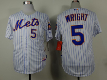 Mens mlb new york mets #5 wright white (blue strip) Jersey