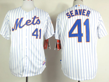 Mens mlb new york mets #41 seaver white (blue strip) Jersey