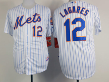 Mens mlb new york mets #12 lagares white (blue strip) Jersey