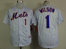 Mens mlb new york mets#1 wilson white (2015 new blue stripe) Jersey