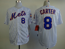 Mens mlb new york mets #8 carter white(blue strip) Jersey