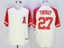 Mens Mlb Los Angeles Angels #27 Mike Trout Cream Cool Base Fashion Jersey