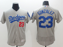 mens majestic los angeles dodgers #23 adrian gonzalez gray Flex Base (majestic) jersey