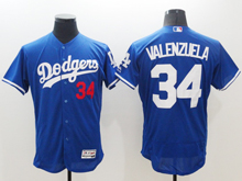 mens majestic los angeles dodgers #34 fernando valenzuela blue Flex Base jersey