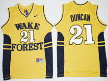 Mens Ncaa Nba Wake Forest Demon Deacons #21 Tim Duncan Gold Jersey