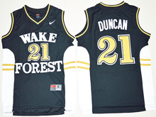 Mens Ncaa Nba Wake Forest Demon Deacons #21 Tim Duncan Black Jersey