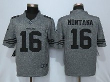 Mens Nfl San Francisco 49ers #16 Joe Montana Gray Stitched Gridiron Limited Jersey