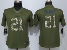 Women  Nfl Dallas Cowboys #21 Ezekiel Elliott Green Salute To Service Limited Jersey