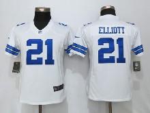 Women  Nfl Dallas Cowboys #21 Ezekiel Elliott White Limited Jersey