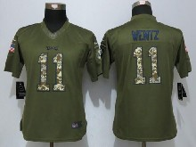 Women  Nfl Philadelphia Eagles #11 Carson Wentz Green Salute To Service Limited Jersey