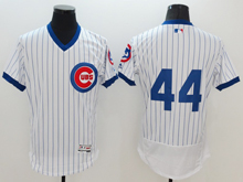 mens majestic chicago cubs #44 anthony rizzo white stripe pullover Flex Base jersey(no name)