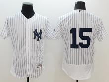 Mens Mlb New York Yankees #15 Thurman Munson (no Name) White Stripe Flex Base Jersey