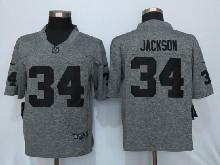 Mens Nfl Oakland Raiders #34 Bo Jackson Gray Stitched Gridiron Limited Jersey