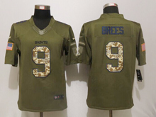 Mens Nfl New Orleans Saints #9 Drew Brees Green Salute To Service Limited Jersey
