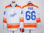 Mens Mlb Los Angeles Dodgers #66 Yasiel Puig White Long Sleeve Jersey