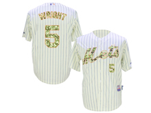 Mens Mlb New York Mets #5 David Wright Rice White Stripe Camo Usmc Jersey