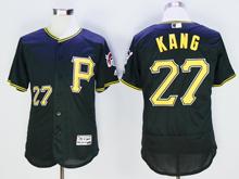 mens majestic pittsburgh pirates #27  jung ho kang black Flex Base jersey