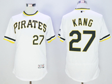 mens majestic pittsburgh pirates #27 jung ho kang white pullover Flex Base jersey